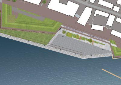 Plattegrond met promenade en cruiseterminal